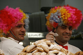Hamantashen sellers in costume,