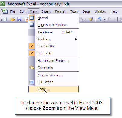 Office 2003 zoom